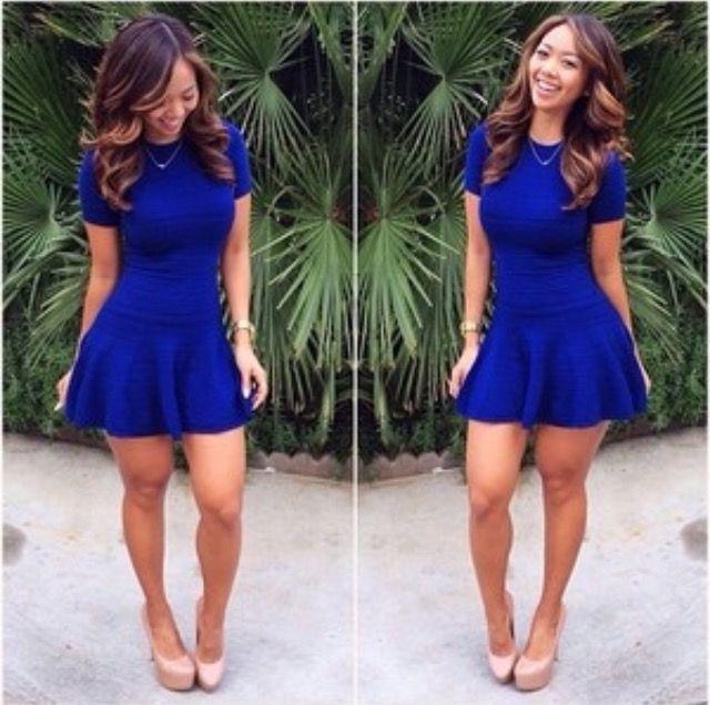 Liane V rocking a royal blue dress with nude heels. How does she ...