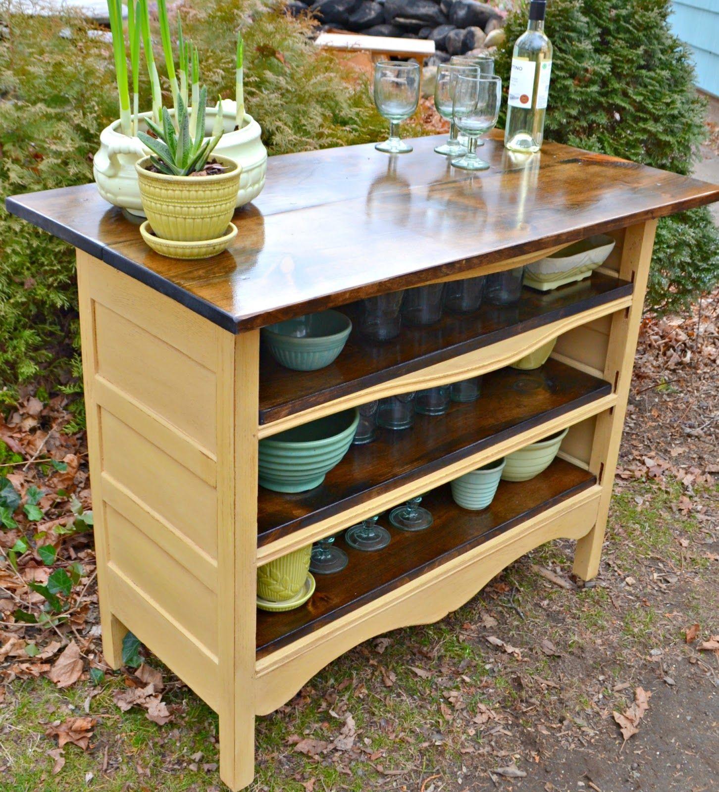 An antique dresser turned kitchen island repurposed