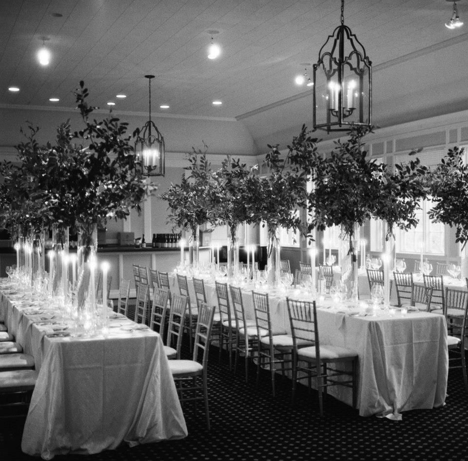 long table setup wedding reception%0A long rectangular tables at wedding reception with tall simple arrangements