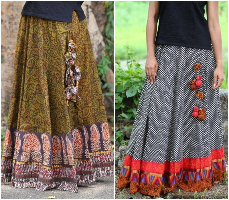 f89fea14ca Long skirts with tassels and kalamkari design | Skirt & Tops in 2019 ...