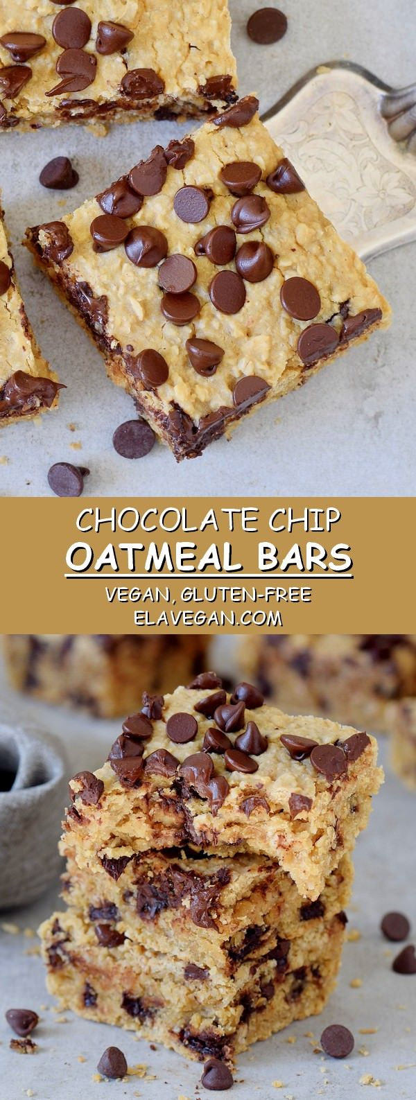 Oatmeal Chocolate Chip Bars | With A Secret Ingredient! - Elavegan