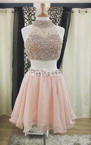 d1e4bff3f43 Pink Mini A Line High Neck Chiffon Tulle Sleeveless Beading Crystal Two  Pieces Short Homecoming Dress