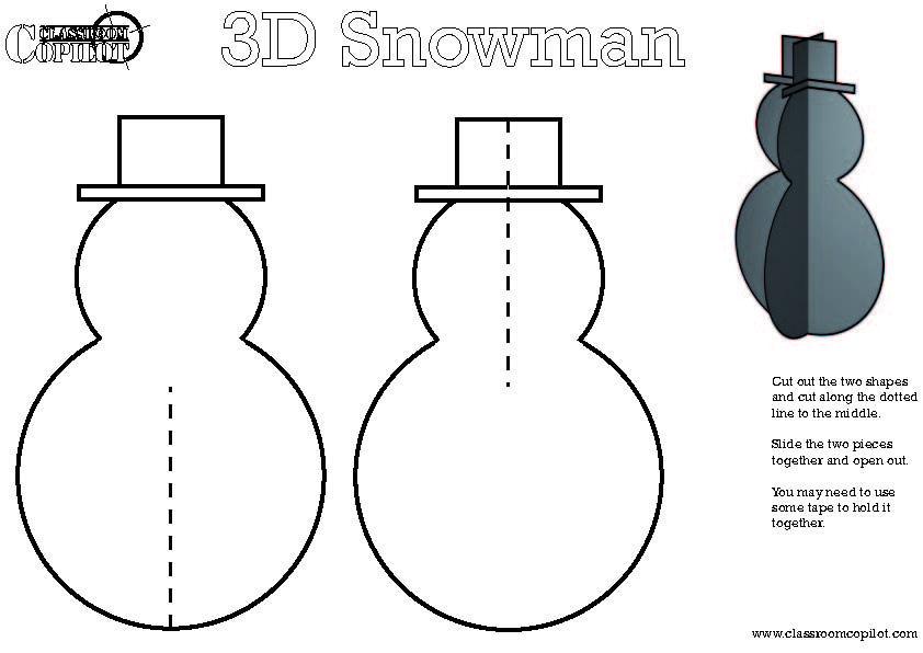 D Christmas Tree Template  Psiinen    Snowman