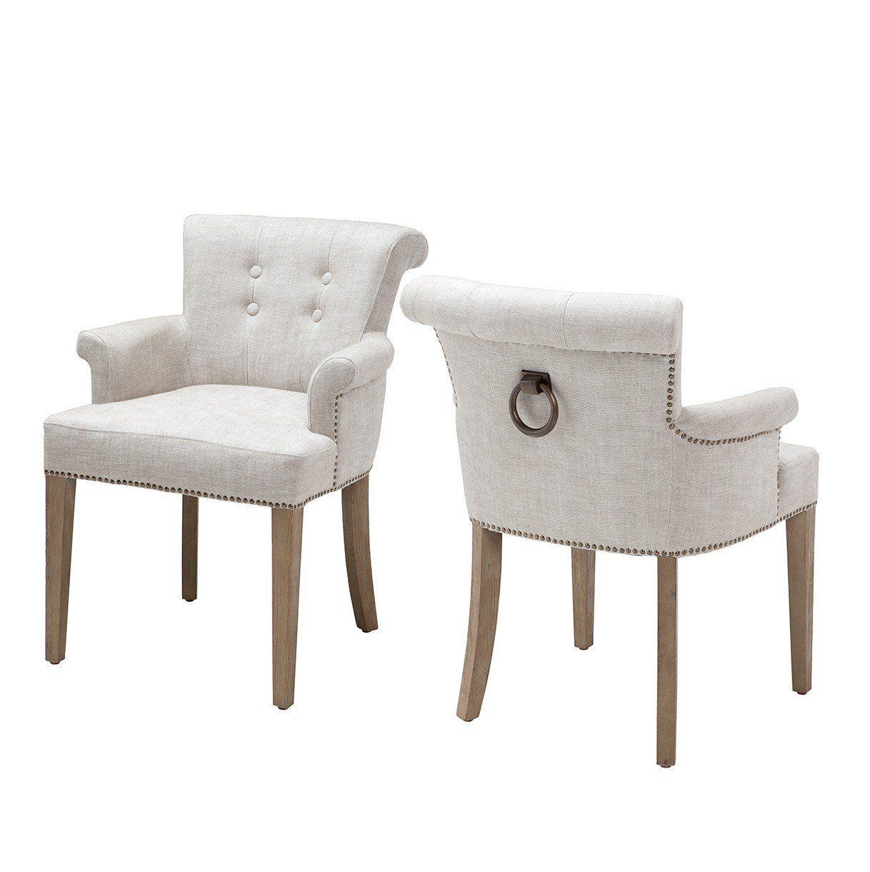Key Largo Off White Linen Dining Armchair