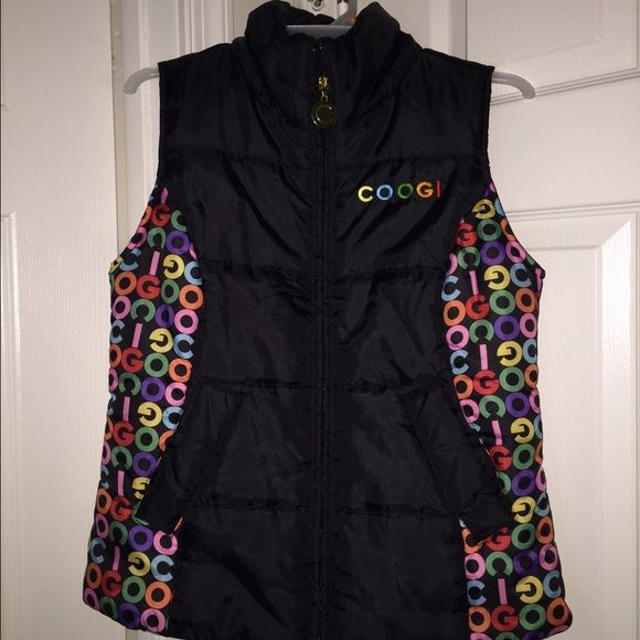 Puffy multicolored vest Worn once. Really cute but I never wear it. Has pockets on the outside. Also available in white. COOGI Jackets & Coats Vests