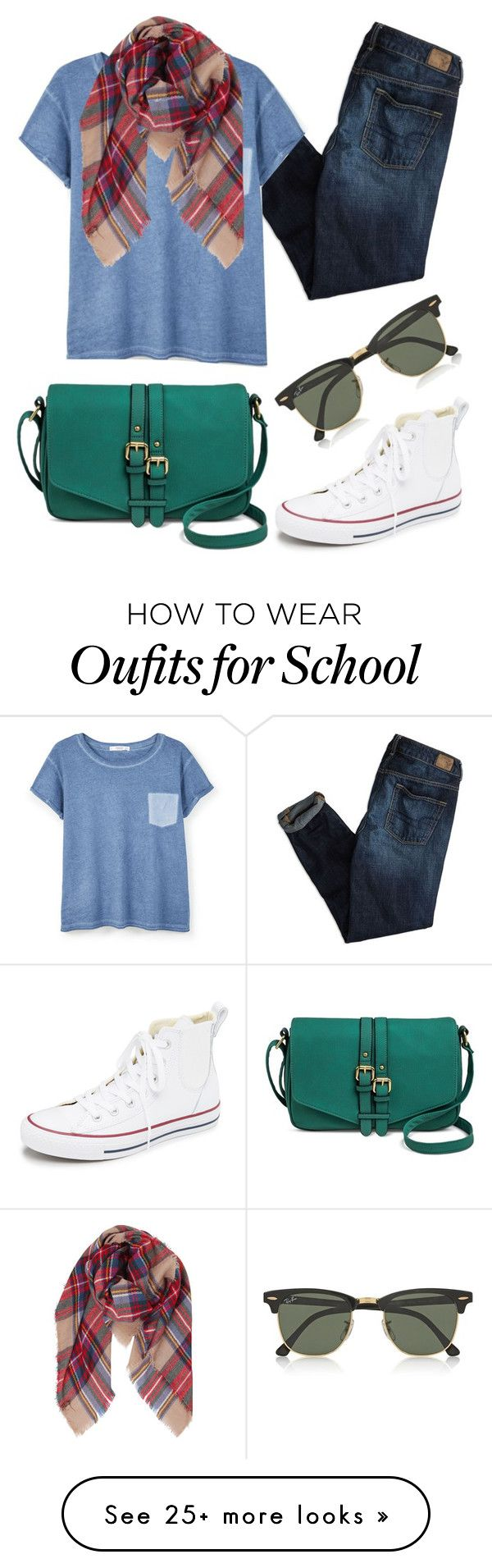 """School"" by kk-purpleprincess on Polyvore featuring American Eagle Outfitters, Converse, MANGO, Humble Chic, Merona and Ray-Ban"