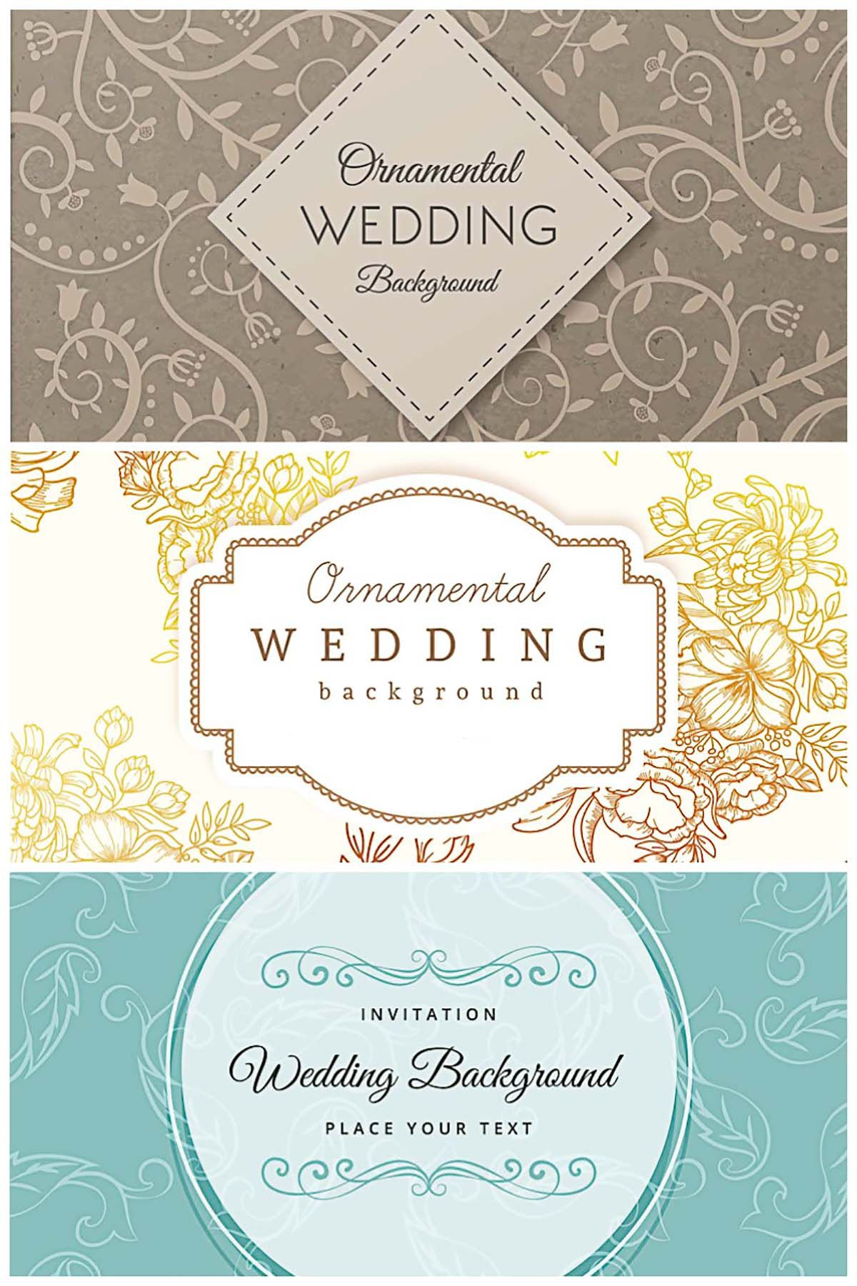 Ornamental wedding retro design background collection | Wedding ...