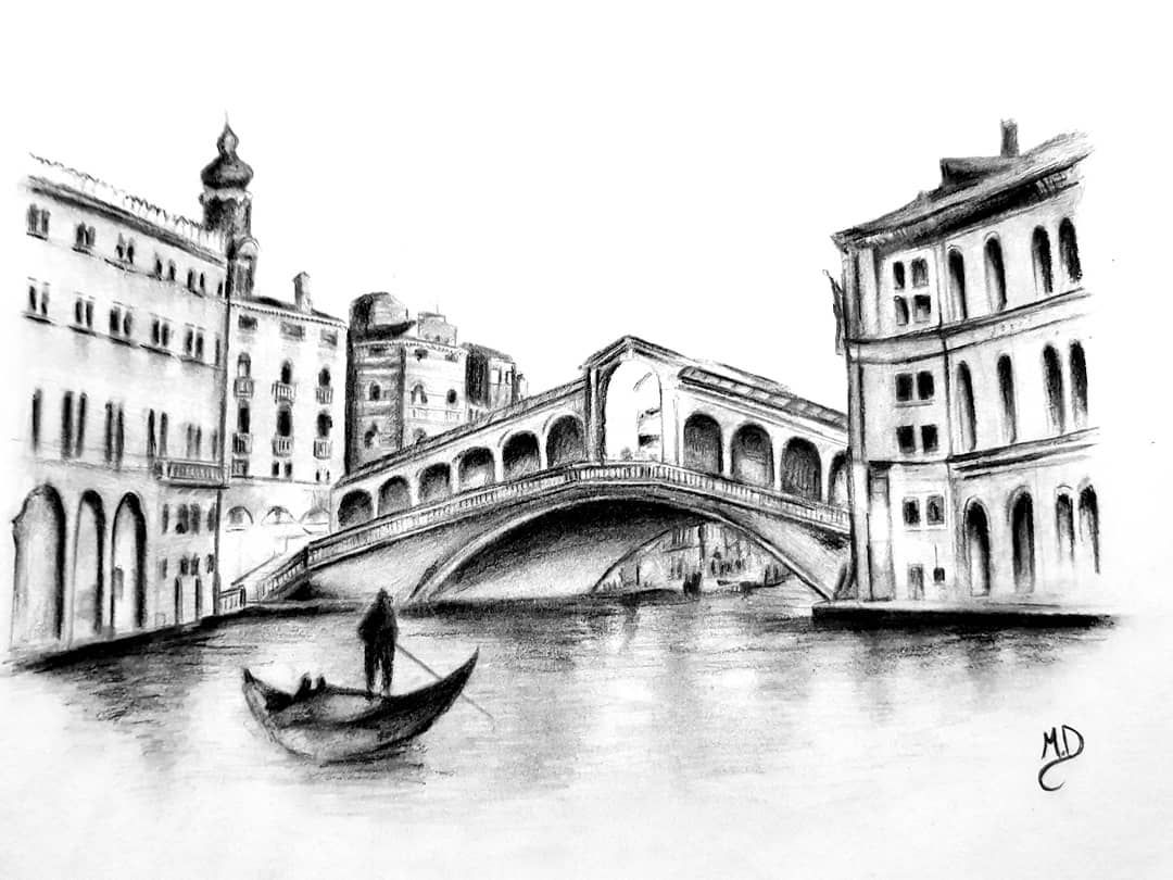 Pencil Venice Black And White