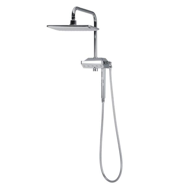 Pulse Showerspas 5 Spray 12 In Dual Shower Head And Handheld Shower Head With Body Spray In Chrome 1054 Ch The Home Depot Shower Heads Fixed Shower Head Shower Systems