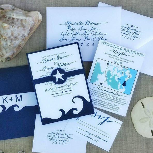 Navy Beach Wedding Invitation Destination Por Blushandbirchpaper
