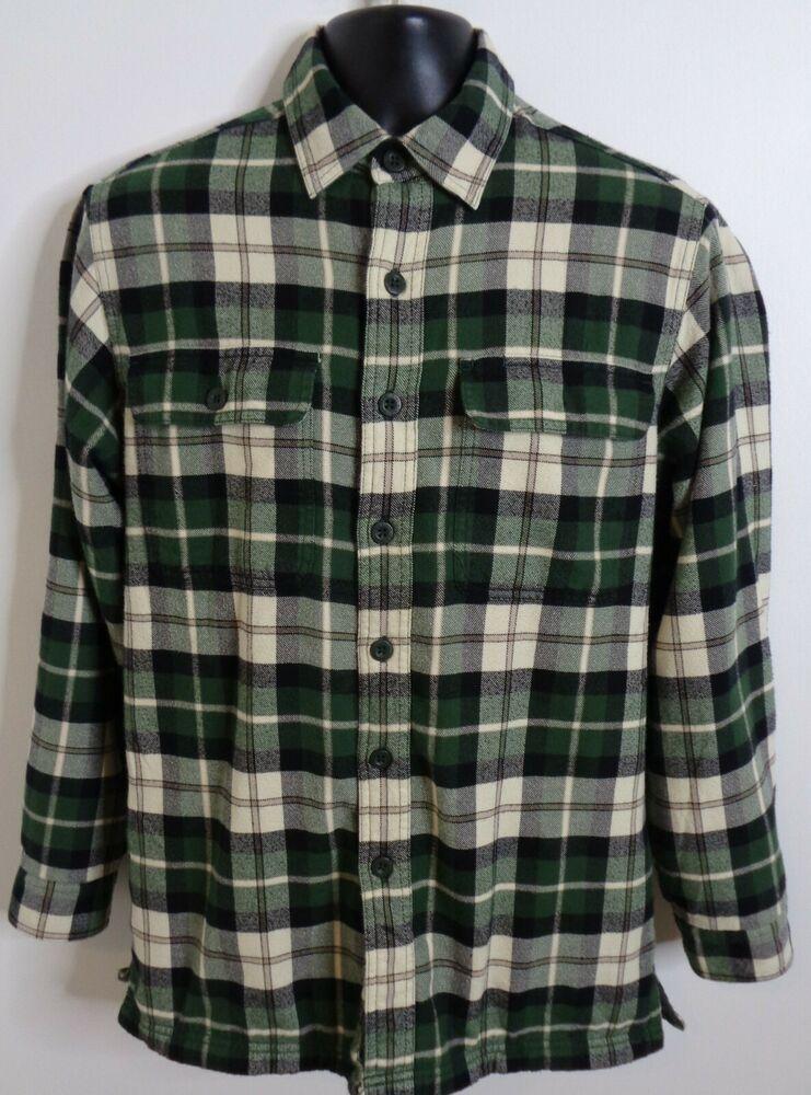 LL Bean Men's Flannel Shirt Fleece Lined Jacket Green Plaid Small Hunting Hiking #LLBean #Casual