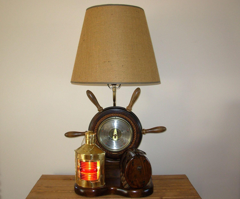 Vintage Nautical Lamp Milford Guild Barometer Port Lantern Pulley Nautical Lamps Lamp White Lamp Shade