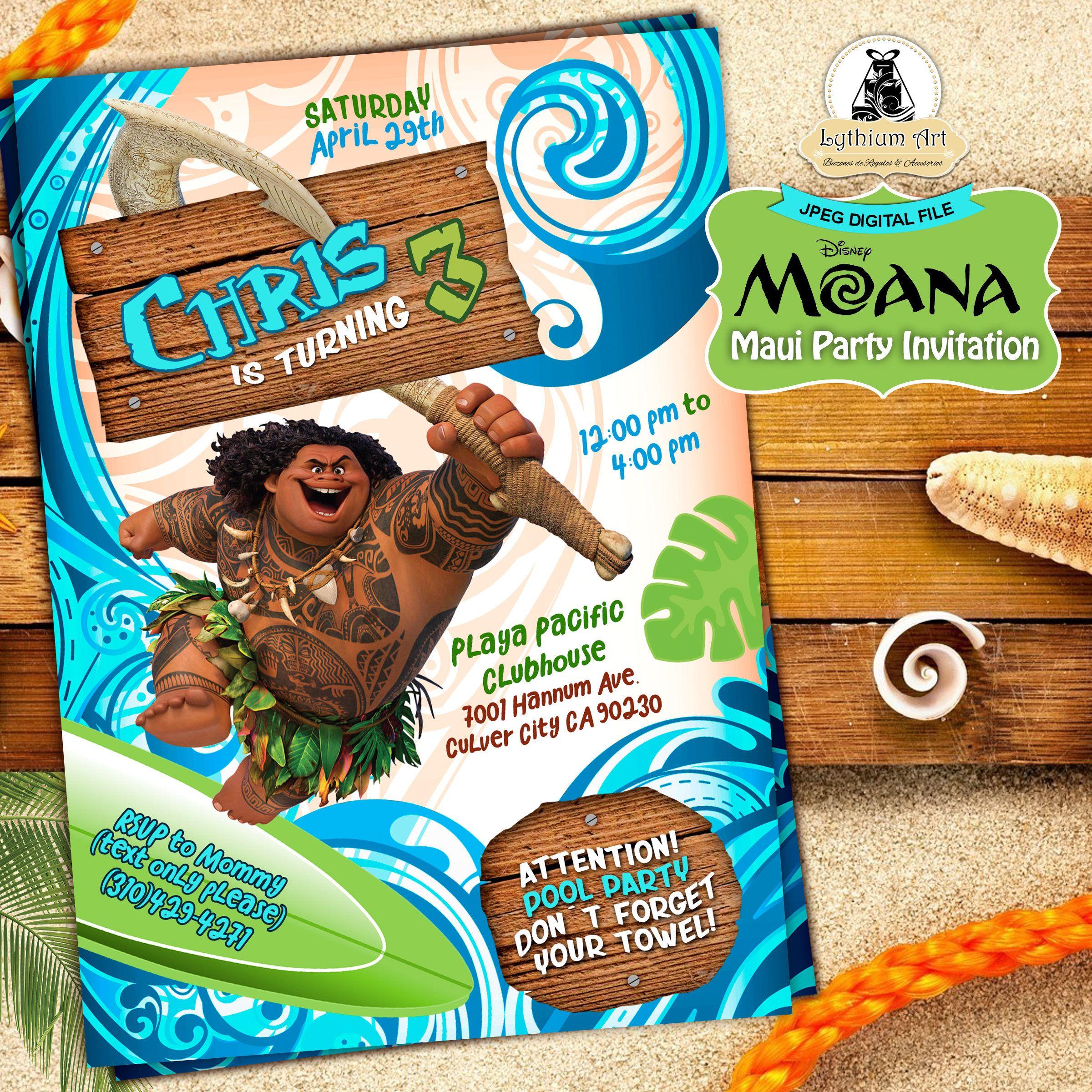 Maui Invitation Maui Party Invitation Moana Birthday Party
