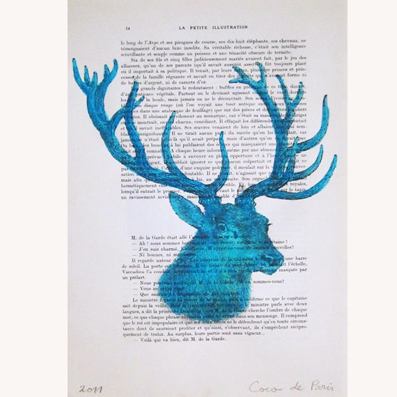 Blue Deer- Original Illustration  de Coco De Paris por DaWanda.com