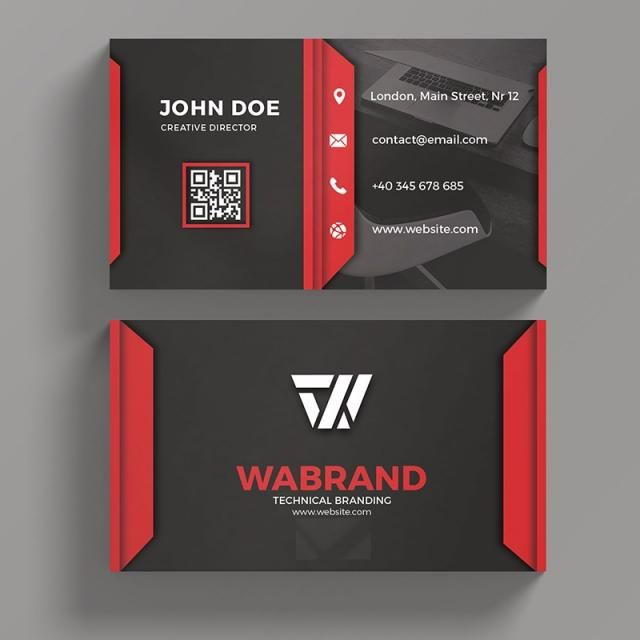 Red And Black Business Card Red Business Cards Black Business Card Art Business Cards