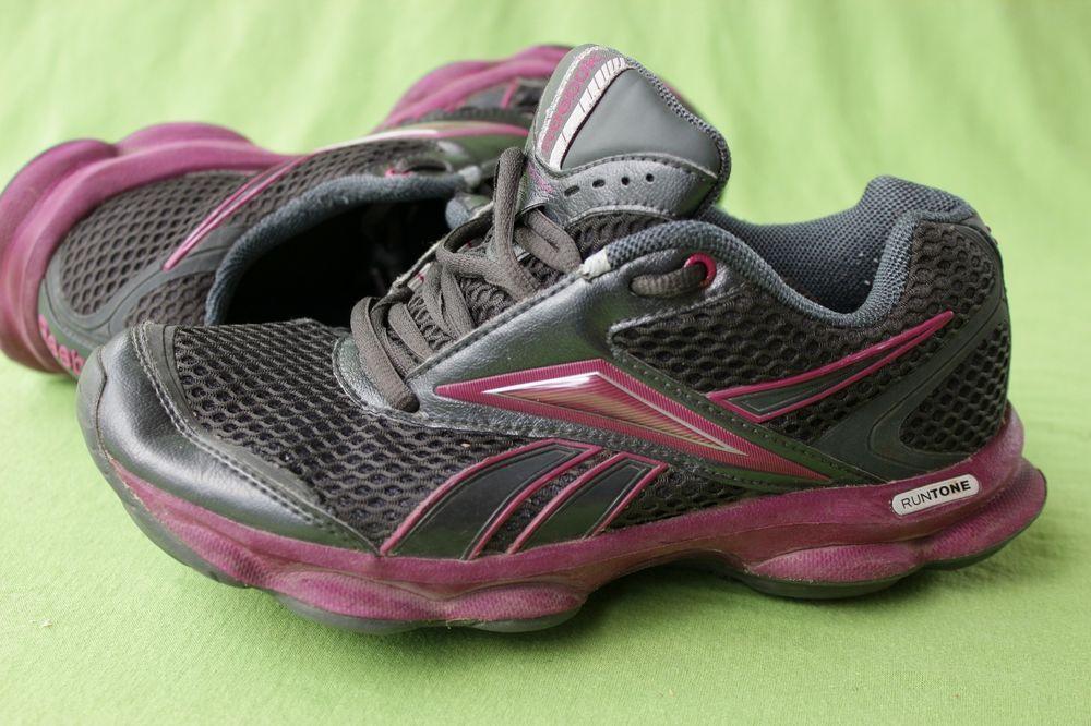 Reebok Runtone Shoes Sneakers Sz 5 Purple Black Womens