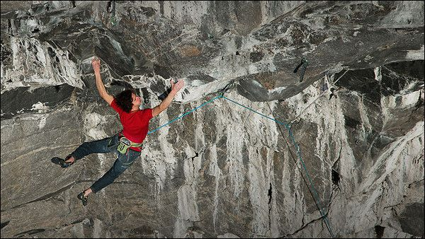 Adam Ondra climbs one of his harder projects in magic