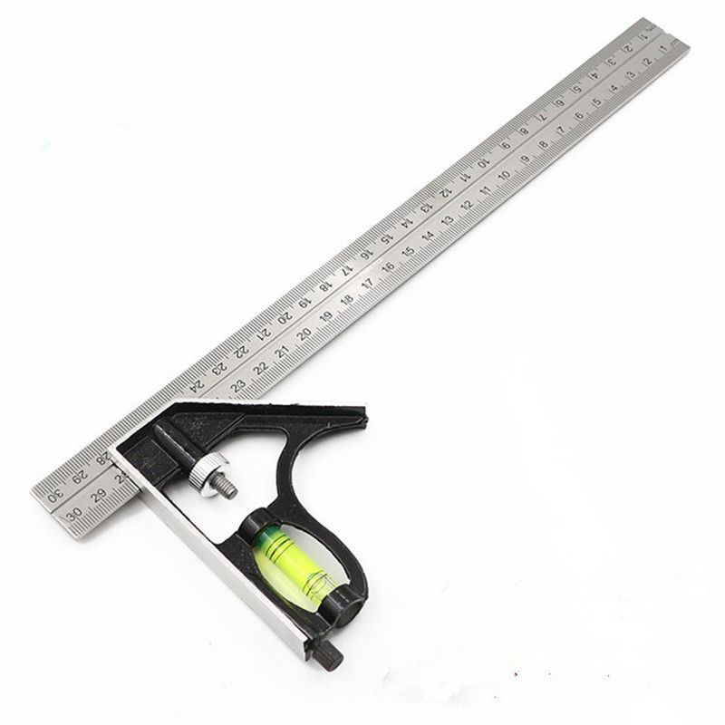 Stainless Steel Multifunctional Combination Square Ruler 300mm 45 Degree Right Angle Horizontal Removable Metal Ruler Ruler Set Measuring Tools Hand Tool Sets