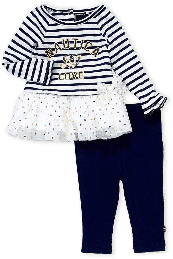 aa91685a51e78 Nautica (Newborn Girls) Two-Piece Love Tutu Top & Leggings Set ...