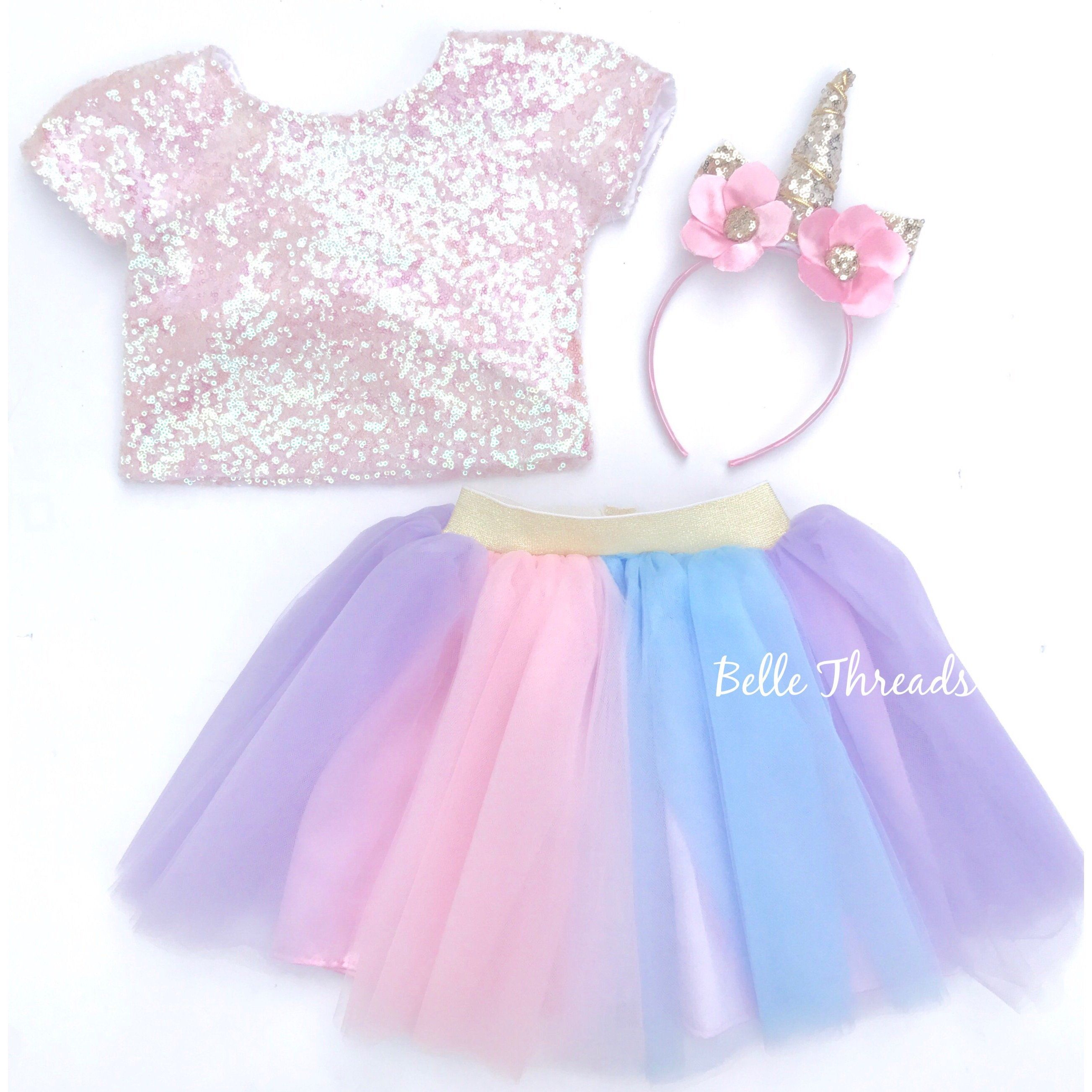 b82fc39da411 Unicorn Tutu Set - Pink Sequin Top & Rainbow Tutu Set | Jessalyn's ...