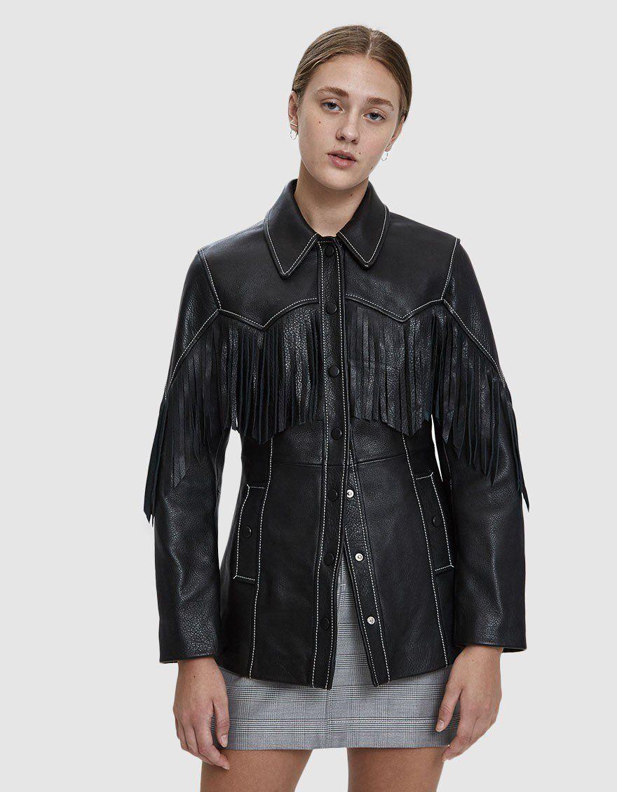 Ganni Heavy Leather Fringe Jacket Fringe Leather Jacket Leather Jacket Dress Boots Women [ 1130 x 880 Pixel ]