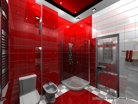 Who Says That A Red Bathroom Has To Be Completely Designed In Red This Particular Room Uses Red Furniture As A Main Bathroom Red Funky Bathroom Tile Bathroom