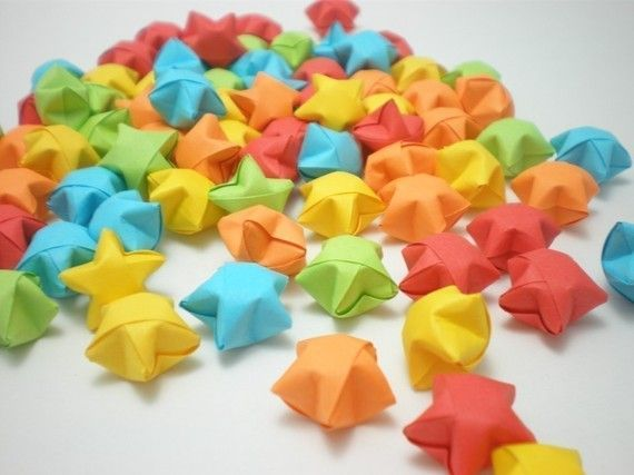 100 Rainbow Shower Origami Lucky Stars Custom Order Available