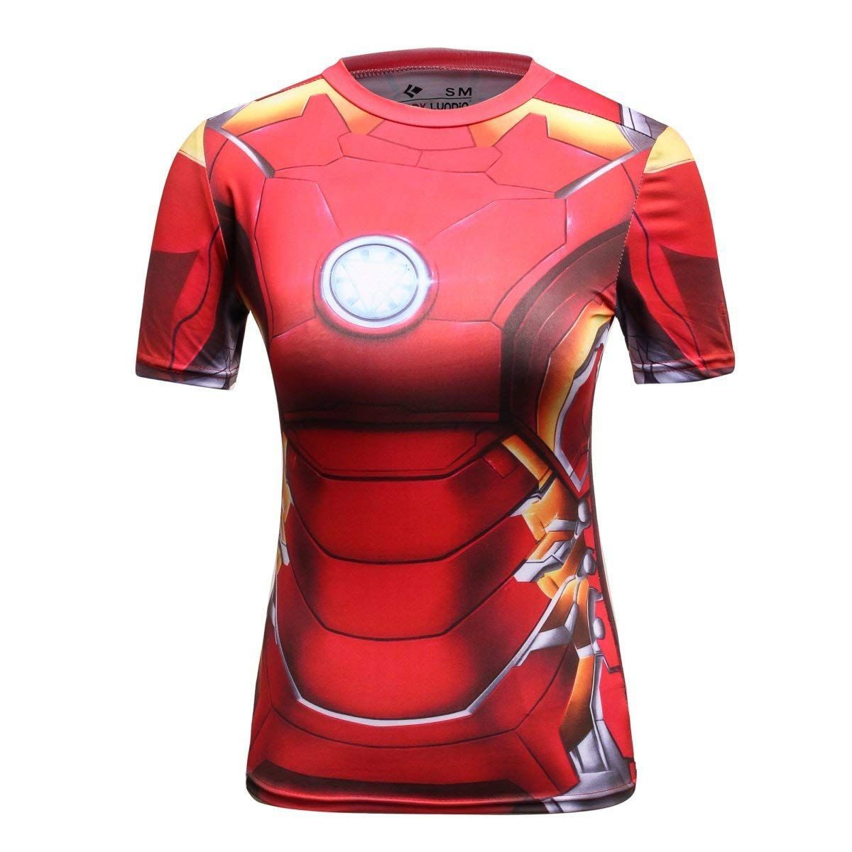 Compression Marvel Superhero Men Short Sleeve T-shirt Gym Sport Spiderman Batman