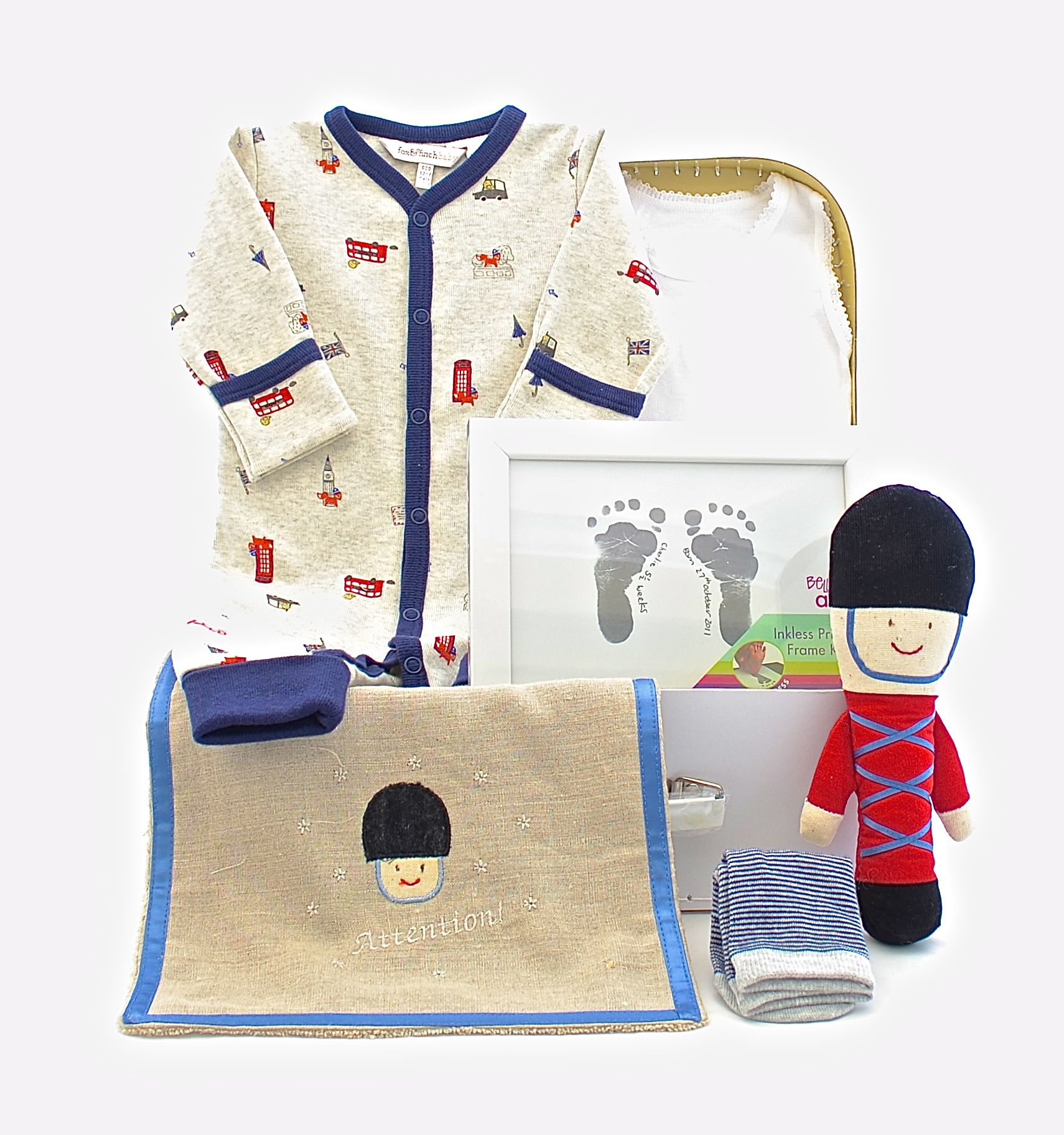This Little soldier hamper has with its' British theme is fit for a regal Prince. For more information click on the link below. http://sweetarrivals.com.au/little-soldier.html#.U03zoGgznzI