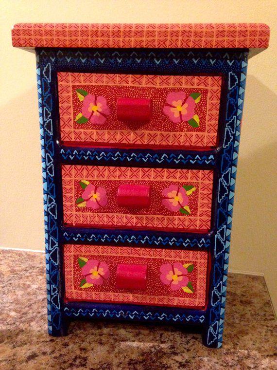 Oaxacan Folk Art Dresser Mexican Jewelry Box Oaxaca Mexico Wood Carving Alebrije Style
