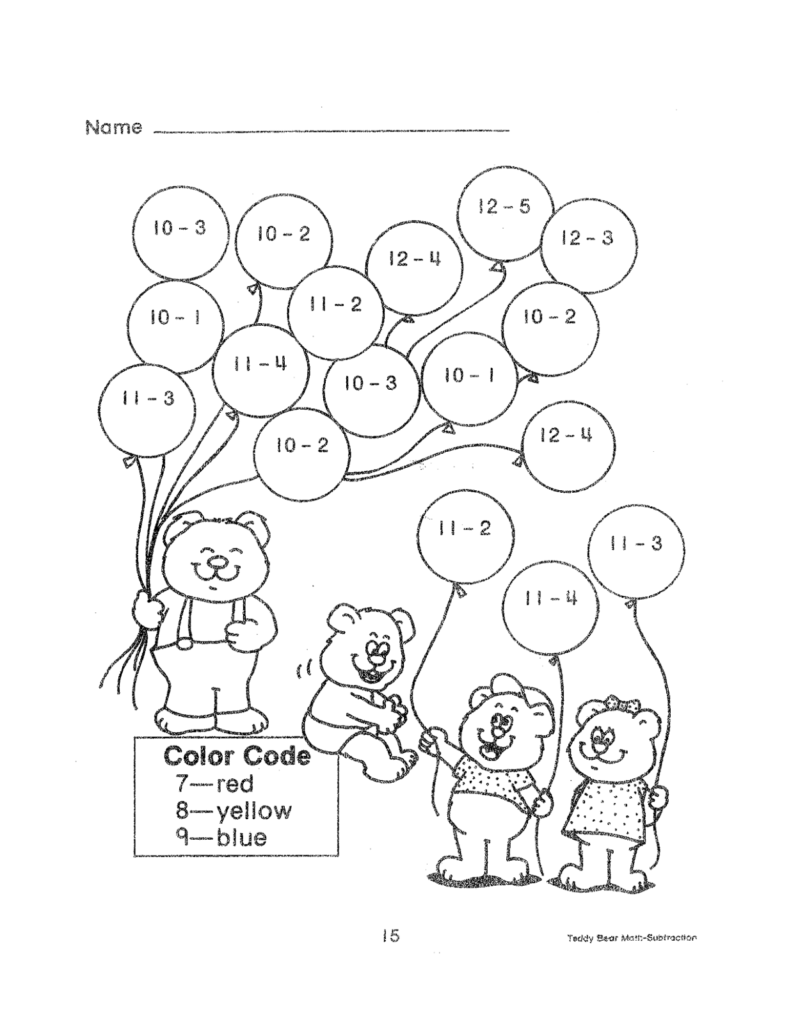 Subtraction Worksheets Educational Coloring Pages Fun