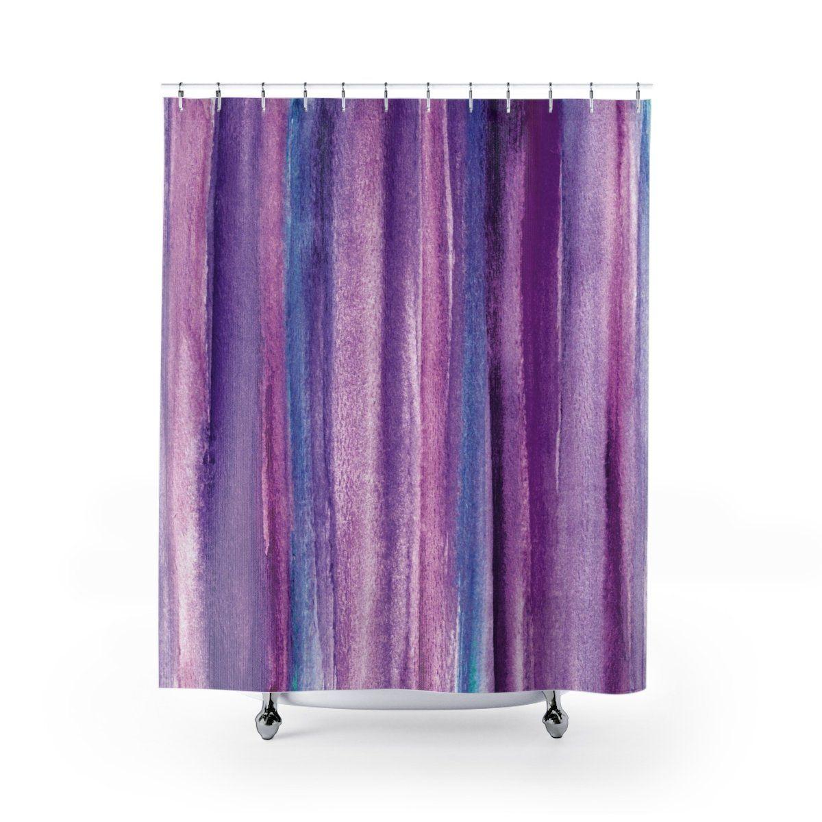 Purple Watercolor Stripes Shower Curtain Purple Bathrooms