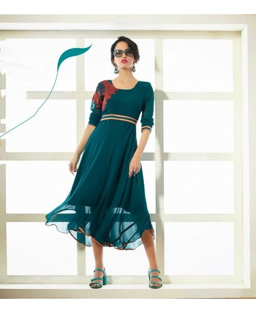 Exquisite Teal Blue Ready Made Kurti