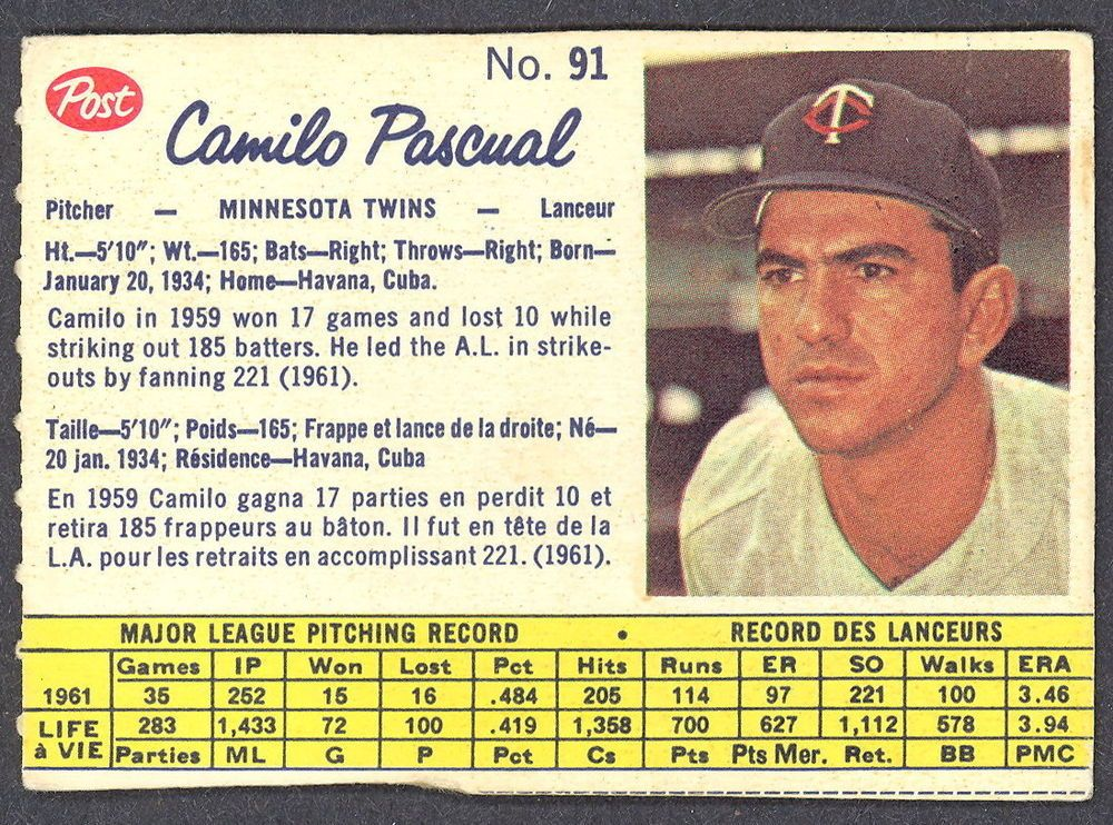 Details about 1962 POST BASEBALL CANADIAN 91 CAMILO