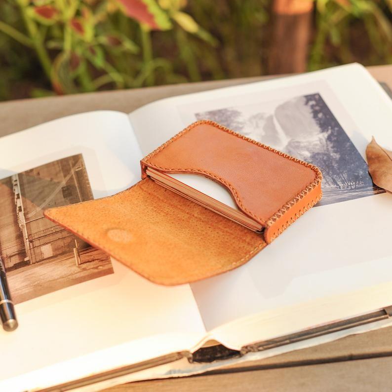 Orange Leather Card Holder Credit Card Holder Business Card Case Name Card Holder Pocket Card Case Name Card Wallet Handmade Card Case Card Holder Leather Leather Business Card Holder Leather Business