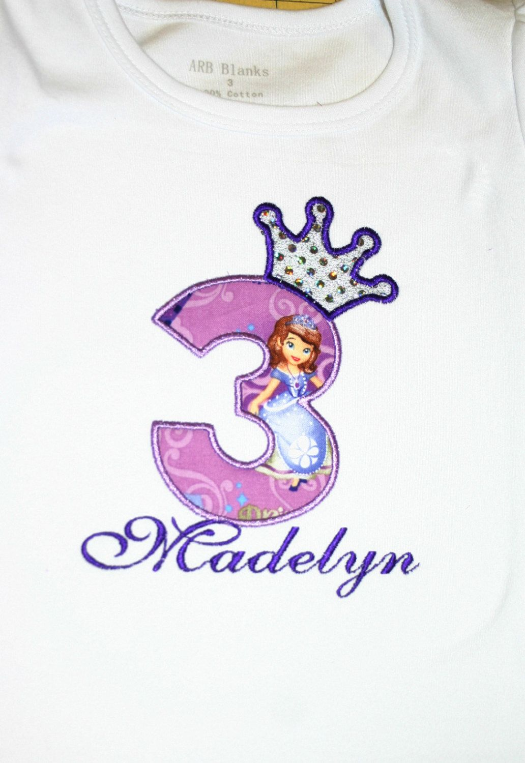 Personalized Sofia The First Birthday Party Gift Present T Shirt with Name On T