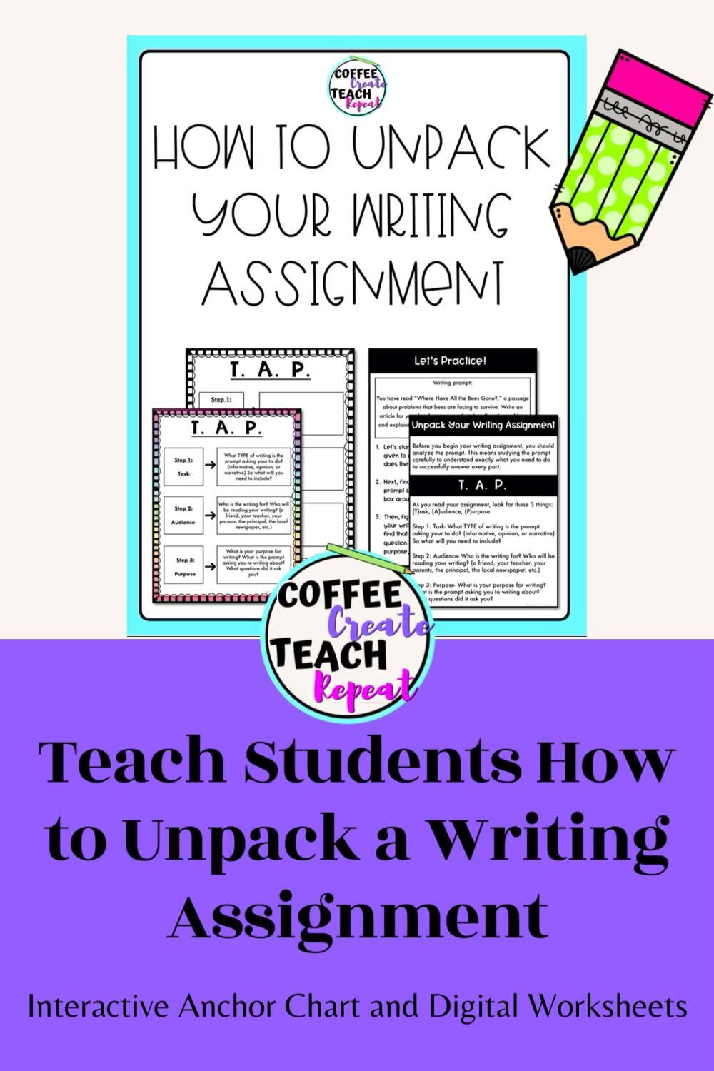 Unpacking A Writing Assignment Interactive Anchor Chart T A P Strategy Video Informational Writing Writing Assignments Interactive Anchor Charts [ 1500 x 1000 Pixel ]