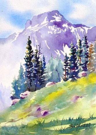 Mountain Watercolor Painting Tuval Resimleri Ve Suluboya Resimler