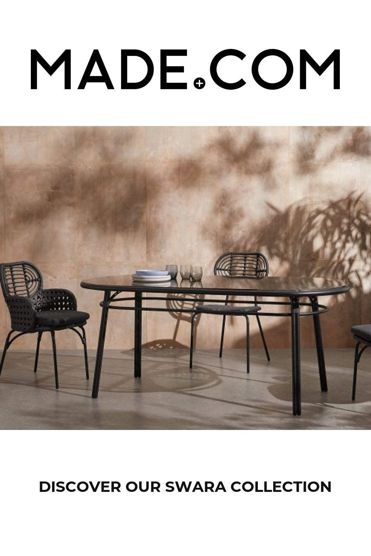 Swara Garden Oval Dining Table, Black Polyrattan, Glass
