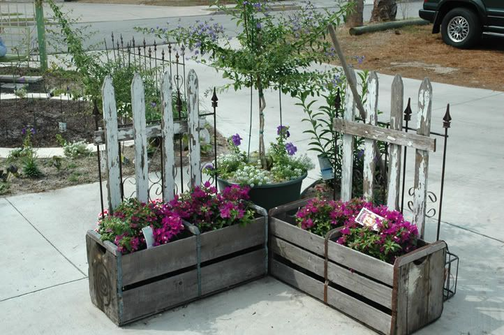 try attaching some old pieces of picket fencing to an orange crate, and voila...a cute place to disguise some plants in regular pots attaching some old pieces of picket fencing to an orange crate, and voila...a cute place to disguise some plants in regular pots