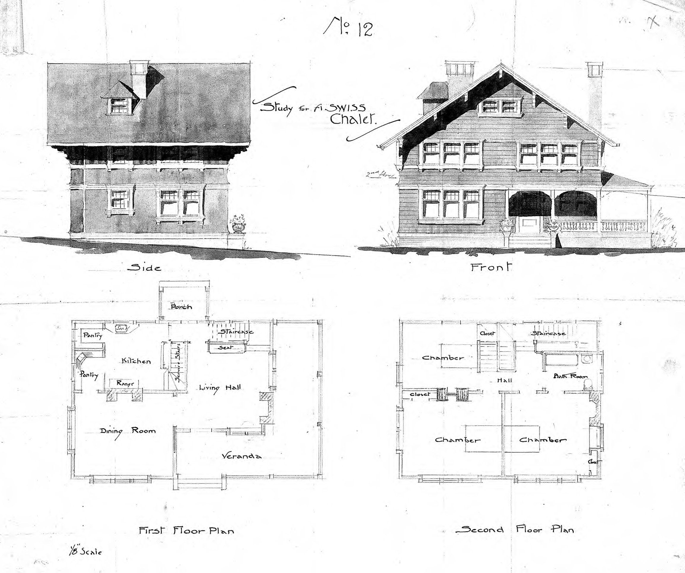 Swiss chalet no 12 side front first second floor for Swiss chalet house plans