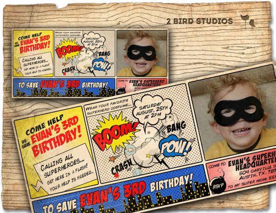 Comic Book Superhero Invitation VINTAGE Super Hero By Etsy Shop 2birdstudios