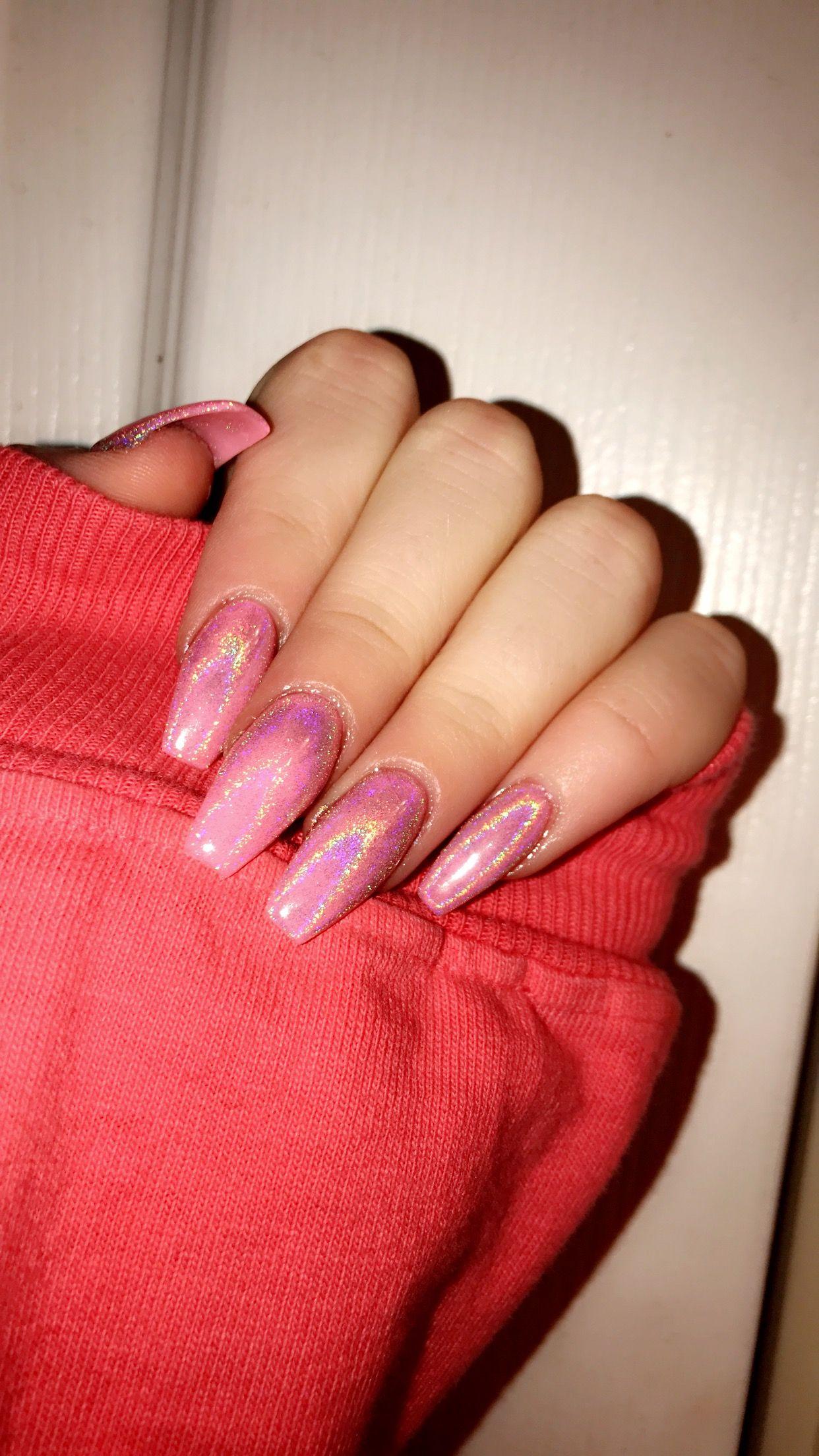 Pink Acrylic Nails Long Acrylic Nails Chrome Acrylic Nails Light Pink Chrome Acrylic N Pink Acrylic Nails Pink Holographic Nails Light Pink Acrylic Nails