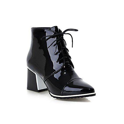 Ladies Chunky Heels Buckle Round Toe Black Imitated Leather Boots - 8.5 B(M) US