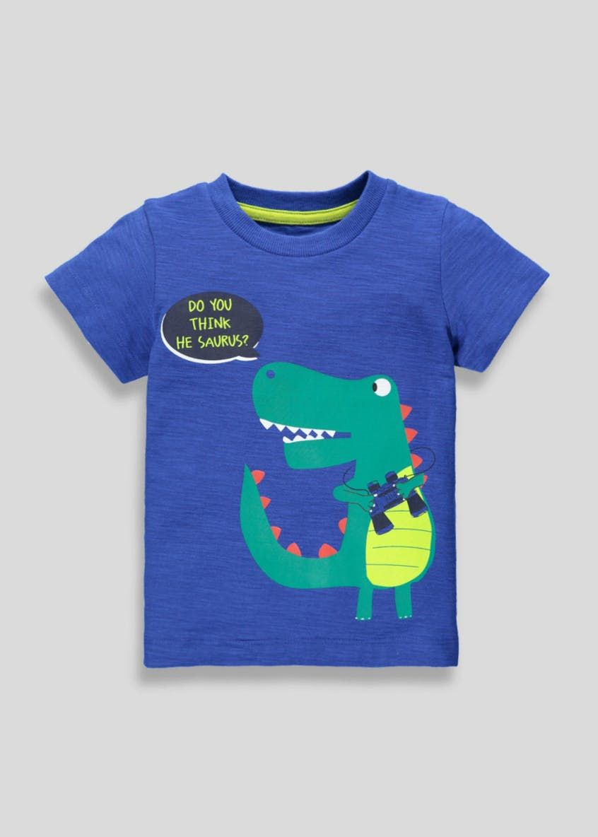 Boys Dinosaur Slogan T Shirt (9mths 6yrs) – Blue | T shirt