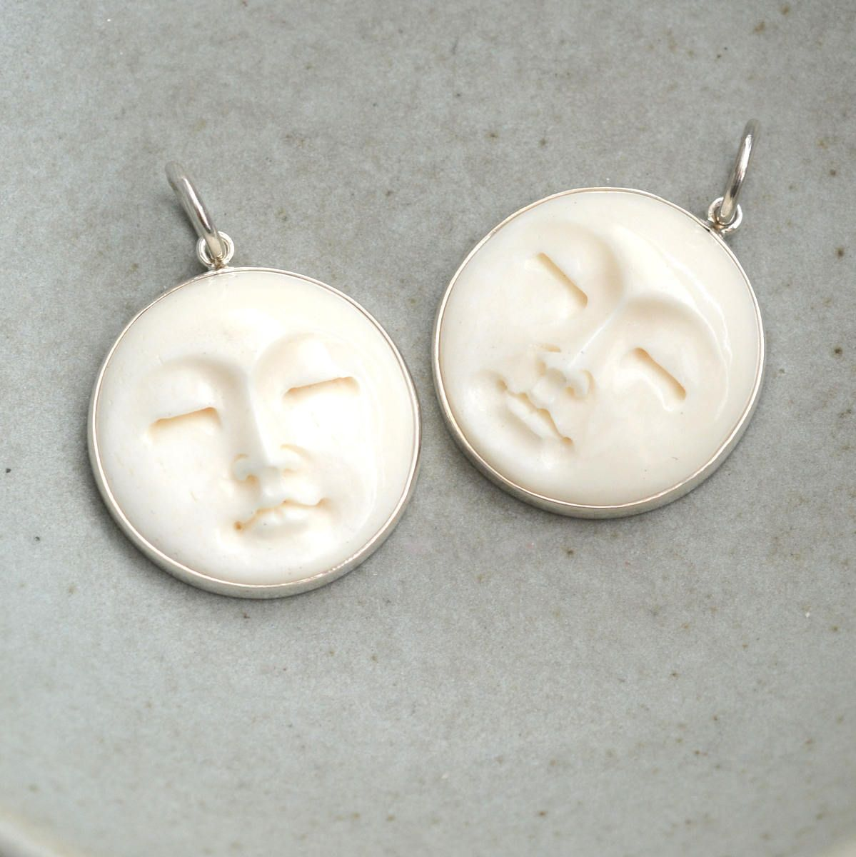 1 25mm Sterling Silver And Bone Moon Face Pendant Carved Bone Pendant Bone Carving Moon Face Jewelry Moon Pendant Necklace Bs17 1124z Moon Pendant Necklace Bone Pendant Moon Pendant