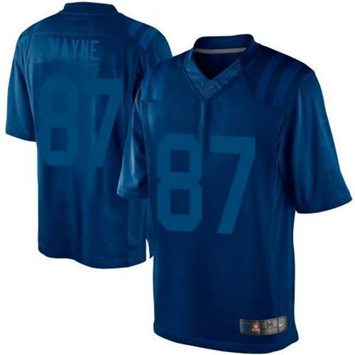 nike colts 87 reggie wayne royal blue mens embroidered nfl drenched limited jersey and