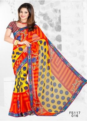 FabFirki Exclusive Printed Orange And Yellow Saree