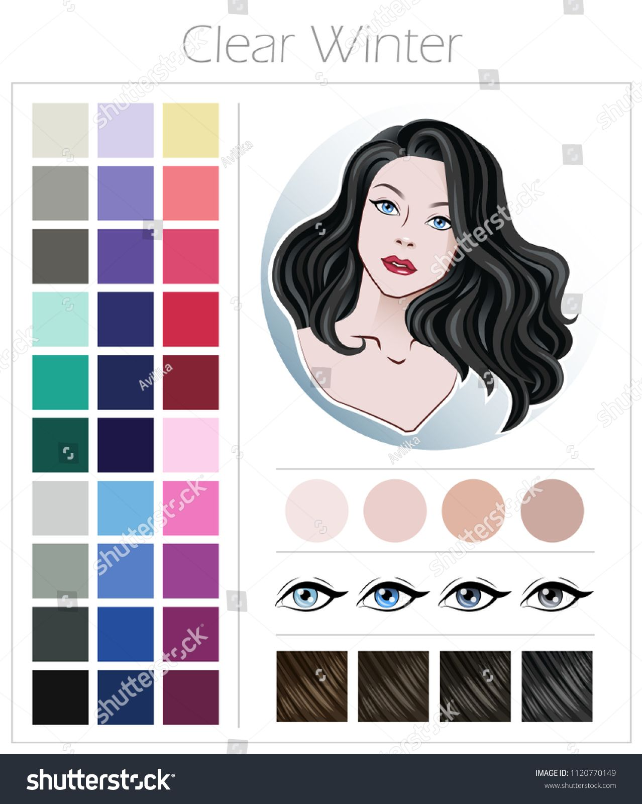Clear winter. Color type of appearance of women. With a palette of colors suitable