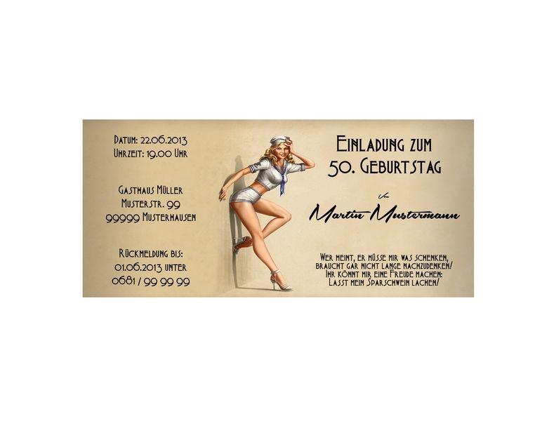 """Einladungskarten - Einladungskarte / Einladung Geburtstag """"Pin up"""" - ein Designerstück von Perso-Kreativ bei DaWanda"""